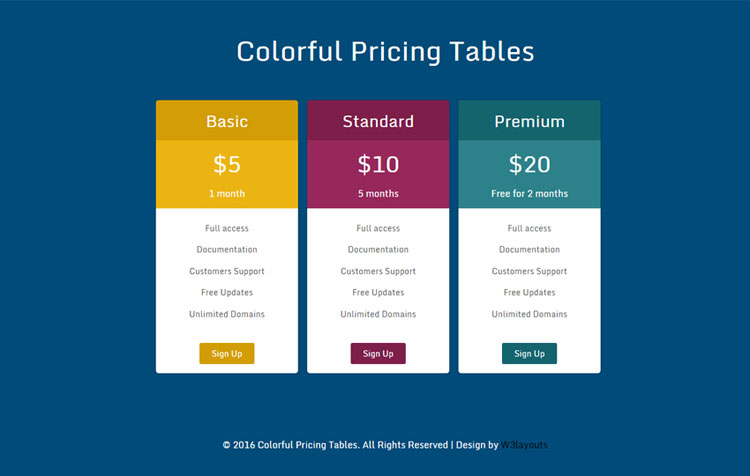 34 best html css pricing table free premium templates for Responsive stylesheet template
