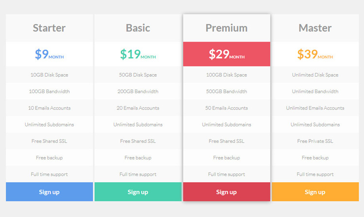 web-pricing-table