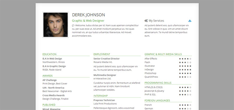 25 bootstrap resume cv templates page 2 of 3