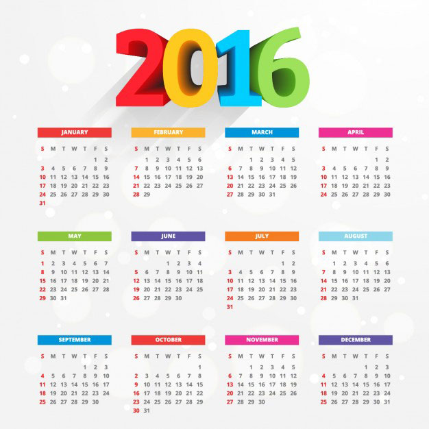 2016-calendar-with-colorful-numbers