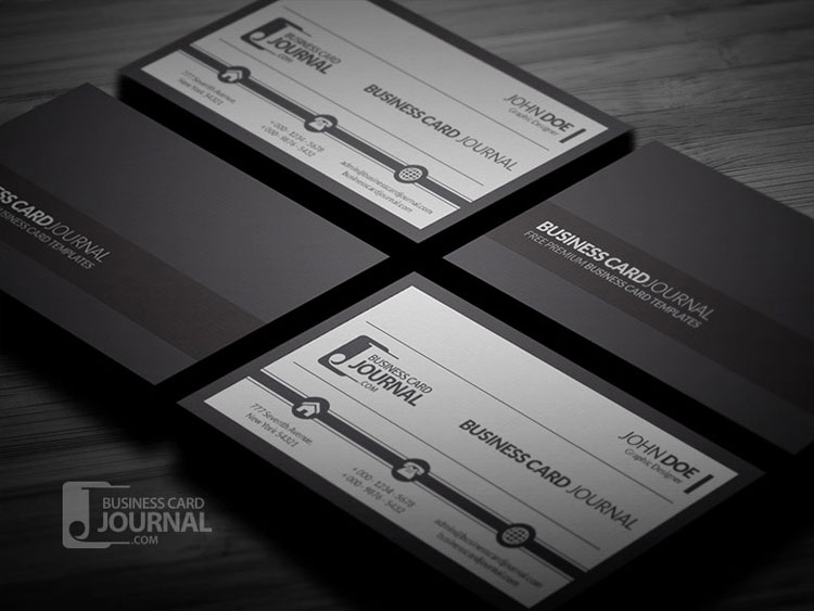 10 free black white business card templates psd for Business card template black