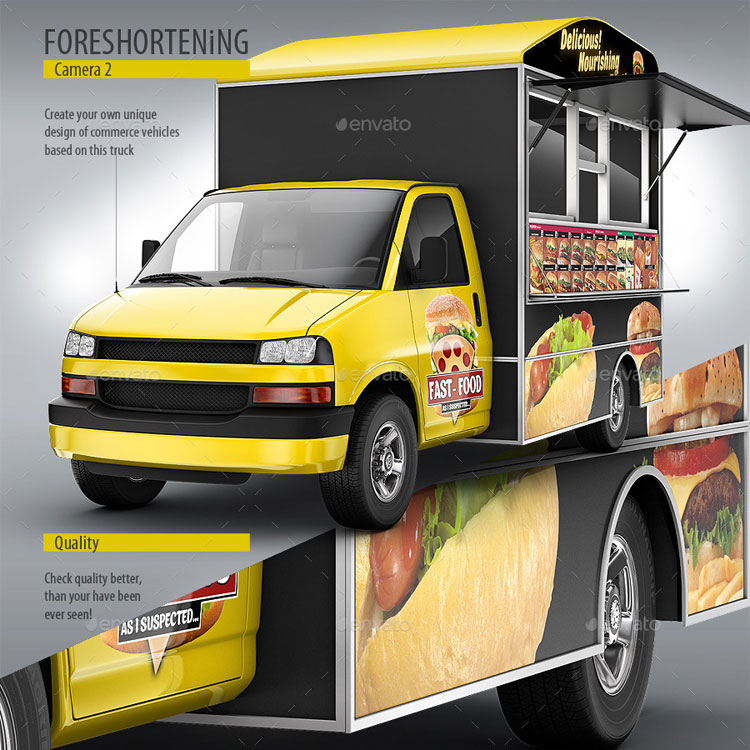 9 best food truck mockup psd templates for Best food truck designs